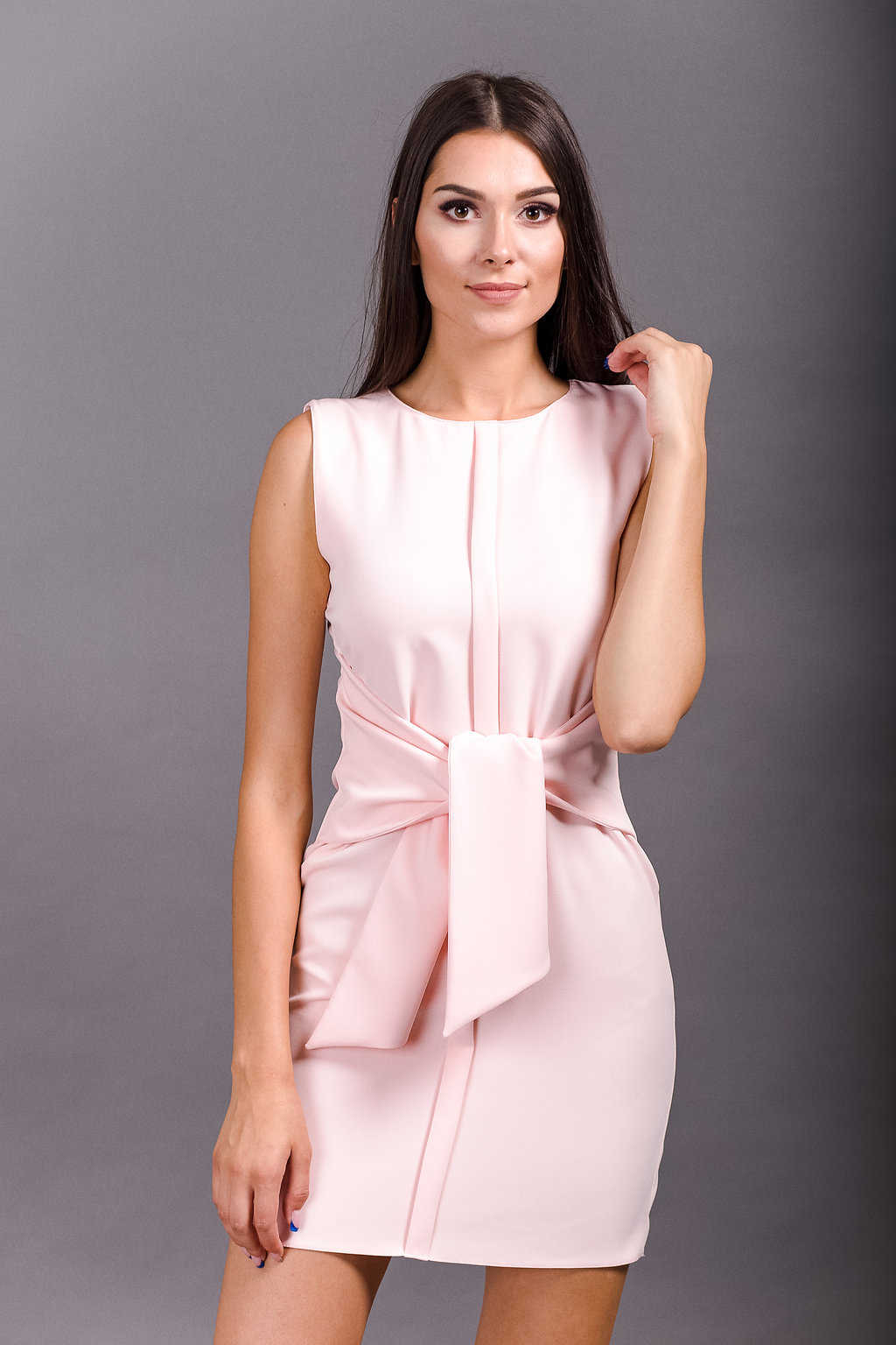 light pink tie front dress almute