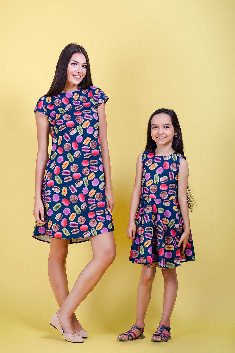 macarons print matching dress mommy&me