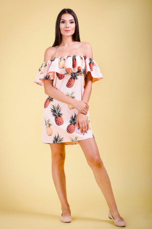 off shoulder pineapple print dress