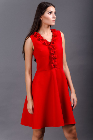 ruffle detail red skater dress
