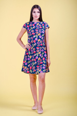 macarons patterned short-sleeve dress