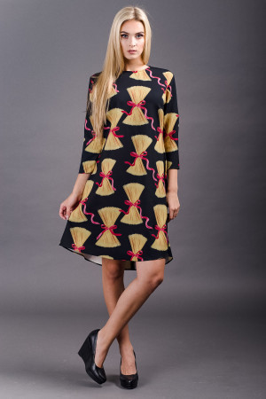 long sleeve pasta print dress yellow/black