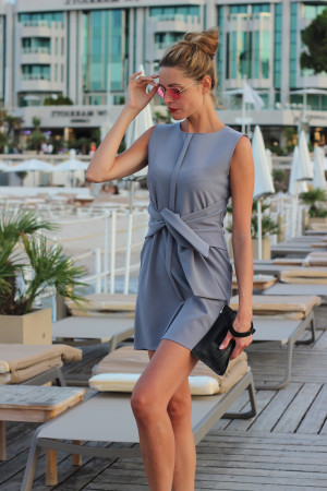 light grey tie front dress almute