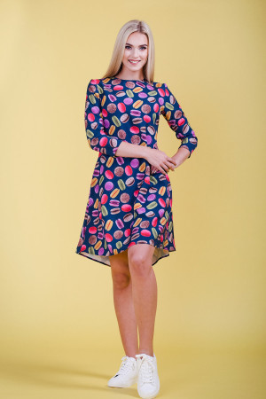 macarons print long sleeve dress
