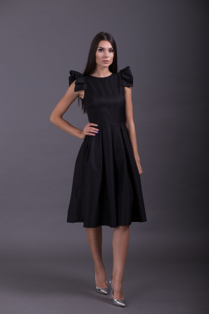 pleated sleeves midi bridesmaid dress black