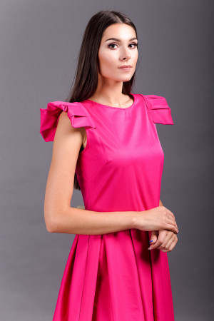 pleated sleeves pink love midi dress
